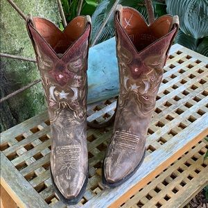 SALE💥DAN POST Moon Stars Distressed Cowboy Boots